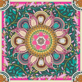 Exquisito diseño de fondo mandala con elementos florales.