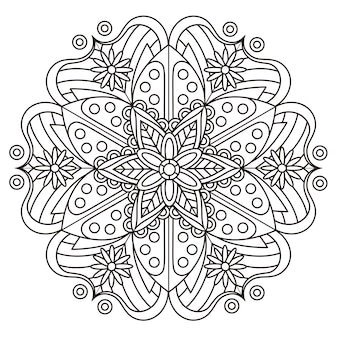 Exquisito diseño de patrón de mandala en blanco y negro.