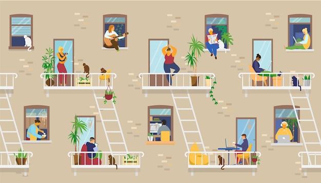 Exterior de la casa con gente en las ventanas y balcones quedándose en casa y realizando diferentes actividades: estudiar, tocar la guitarra, trabajar, hacer yoga, cocinar, leer. ilustración.