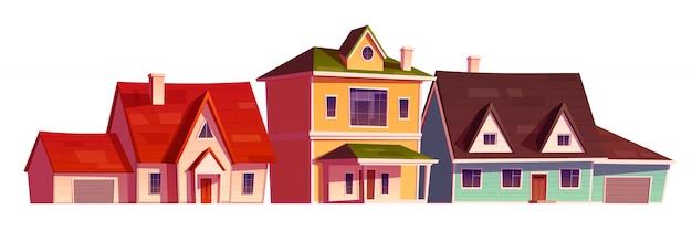 Exterior de casas residenciales en distrito suburbio