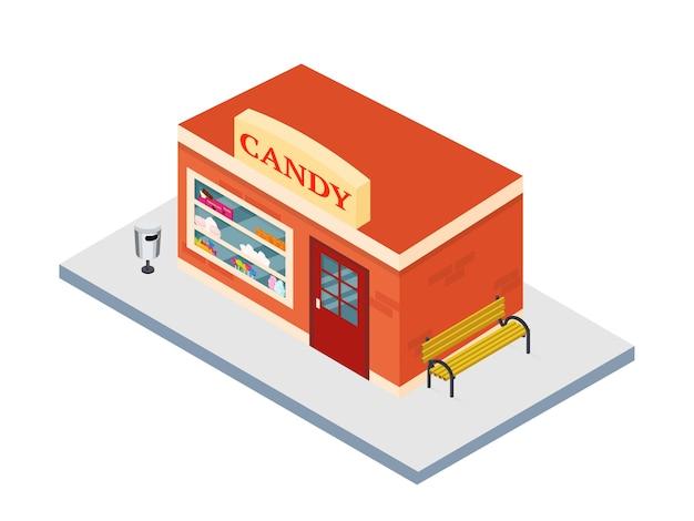 Exterior de tienda de dulces isométrica