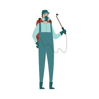 Exterminador de control de plagas rociando ilustración de aerosol tóxico