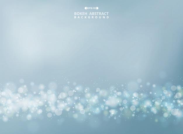 Extracto del feliz oro - el bokeh de plata brilla en fondo suave del cielo. vector eps10