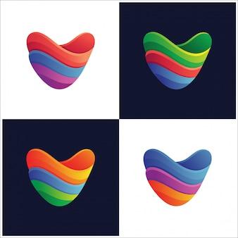 Extracto de la letra v con la colección colorida del logotipo de la variedad