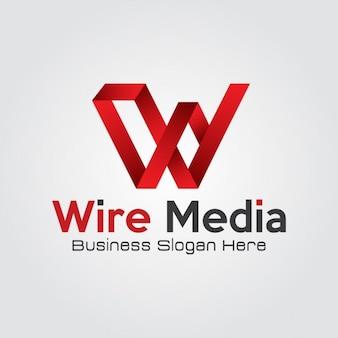 Extracto rojo de la letra w logotipo