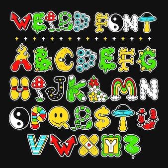Extraña fuente de estilo psicodélico trippy, letras, abc. ilustración de personaje de dibujos animados de doodle dibujado a mano de vector.