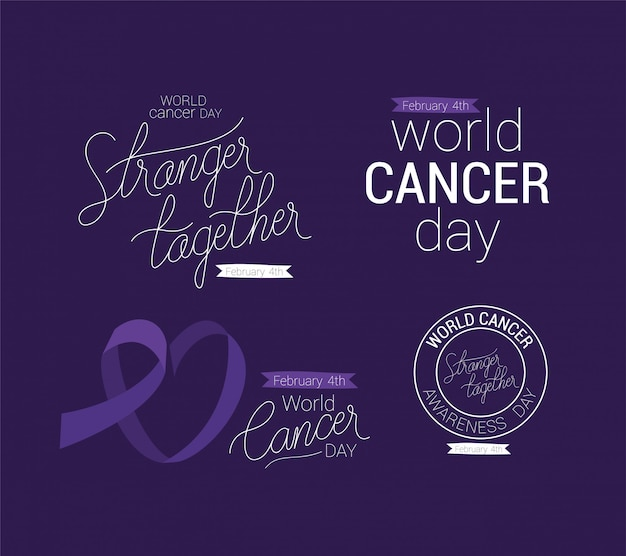 Extranjero de la cinta púrpura juntos y diseño de texto de apoyo, día mundial del cáncer, cuatro de febrero, campaña de concientización, prevención de enfermedades y tema de la fundación
