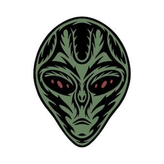 Extranjero de la galaxia del espacio del grabado en madera retro de la vendimia se puede utilizar como insignia del logotipo del emblema