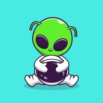 Extranjero lindo con el ejemplo del icono del vector de la historieta del traje del astronauta. concepto de icono de tecnología de ciencia aislado vector premium. estilo de dibujos animados plana