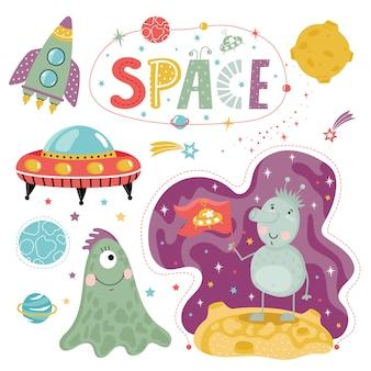 Extranjeros dibujados a mano en el espacio