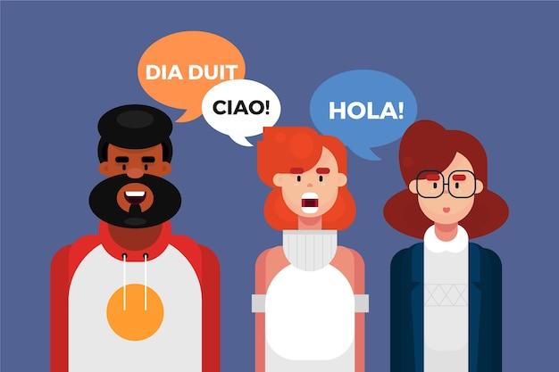 Extranjeros hablando en diferentes idiomas.