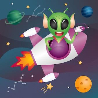 Un extraterrestre lindo en la galaxia espacial.