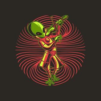 Extraterrestre tocando el violín en la ilustración de los hombros