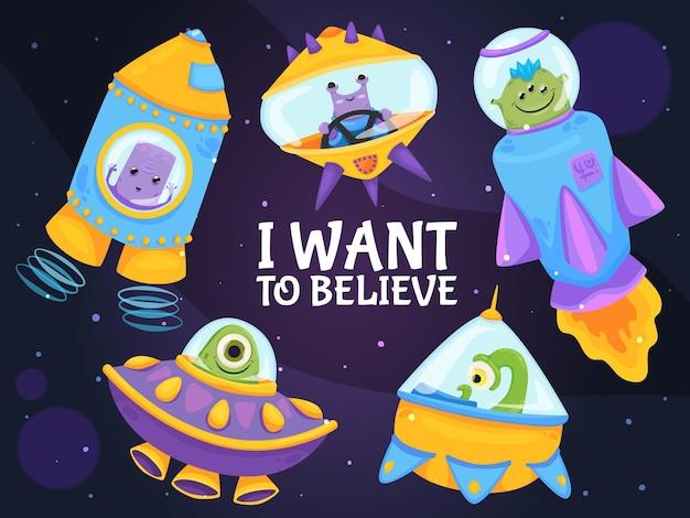 Extraterrestres en la noche con texto quiero creer ilustración de dibujos animados