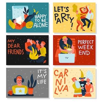 Extraversión, introversión, tarjetas horizontales en color.