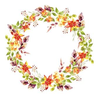 Exuberante corona floral en diseño de acuarela