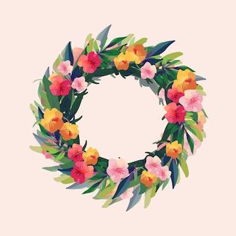 Exuberante corona floral en estilo acuarela