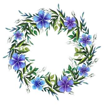 Exuberante corona floral en tema de estilo acuarela
