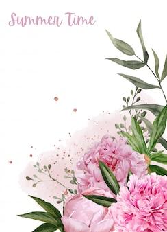 Exuberantes peonías, flores y elementos florales de oro rosa