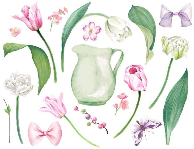 Exuberantes tulipanes rosados y blancos hojas pequeñas flores