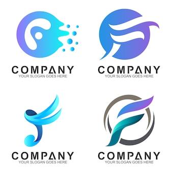 F colección de diseño de logotipo