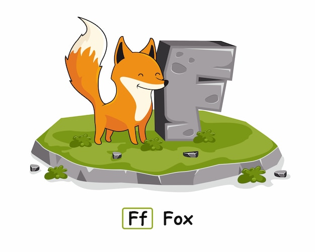 F para fox animales alfabeto piedra roca
