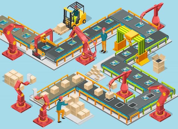 Fábrica automática con línea transportadora y brazos robóticos. proceso de ensamblaje. ilustración