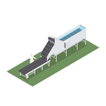 Fábrica automatizada con cinta transportadora con capacidad volumétrica en la industria alimentaria.