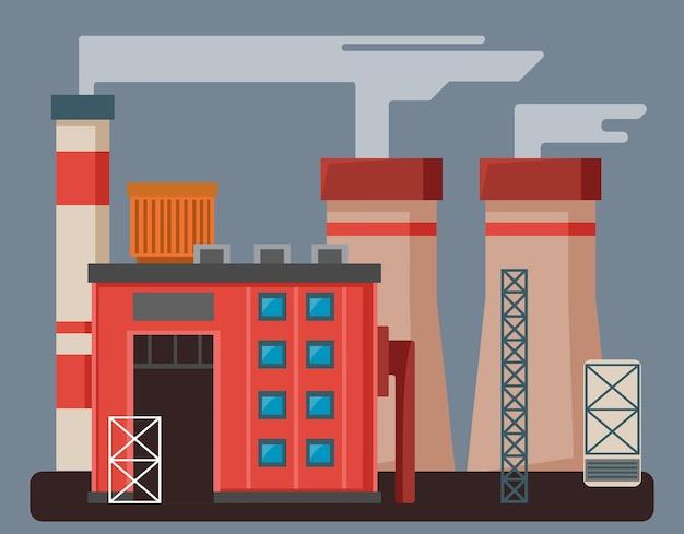 Fábrica de color o fábrica con tuberías de edificios y estructuras metálicas en un gris aislado