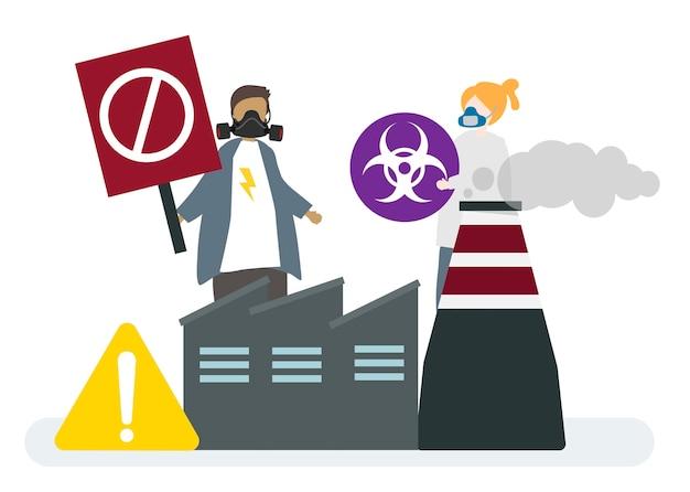 Fábrica de contaminación del aire y peligros.