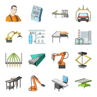 Fábrica de dibujos animados industria establece icono. icono de conjunto de dibujos animados aislados de planta. fábrica de industria.