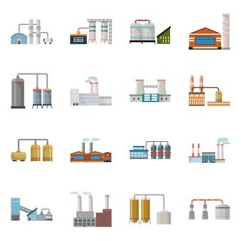 Fábrica de diseño vectorial e industria. establecer fábrica y stock de arquitectura.