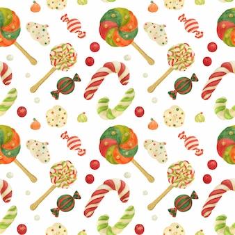 Fábrica de elfos navideños de patrones sin fisuras con bastones de caramelo, piruletas, zefirs y dulces