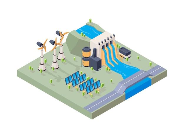 Fábrica de energía hidroeléctrica. concepto isométrico del vector de la energía geotérmica de la industria del eco del agua de la planta solar. ilustración eco energía solar isométrica
