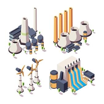 Fábrica de energía natural. colección isométrica del vector de las fuentes del bio desarrollo del edificio geotérmico de la ecología de gran alcance. ecología de la fábrica de energía, ilustración de energía alternativa