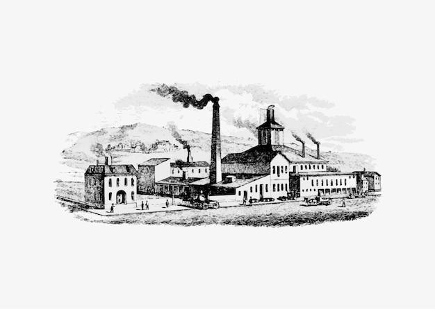 Fábrica en la era de la industrialización.