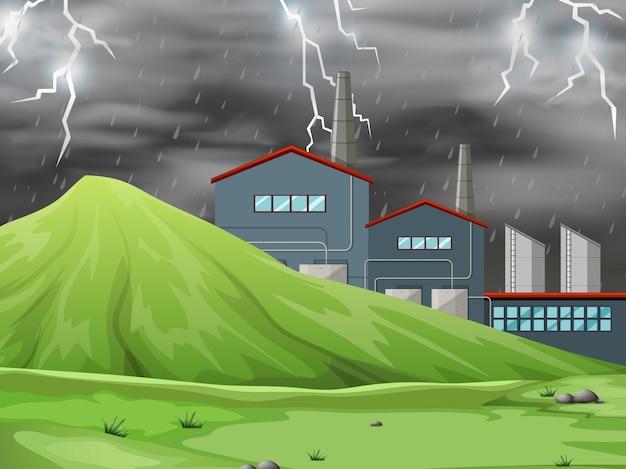 Una fábrica en el fondo de la escena de la naturaleza.