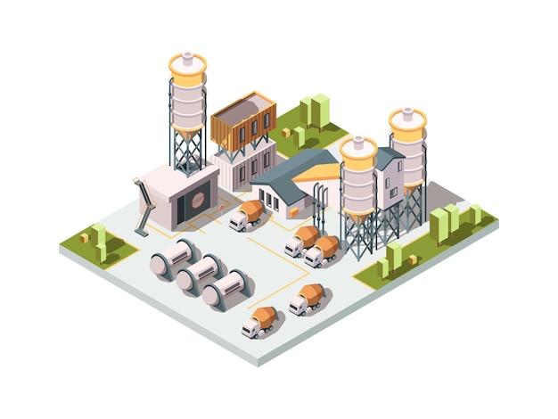 Fábrica de hormigón. producción de manufactura de maquinaria concepto industrial máquina mezcladora de cemento y tanques