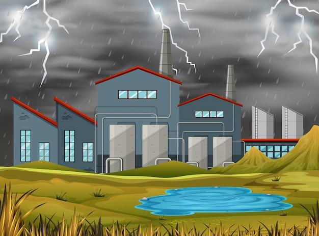 Fábrica en una ilustración de tormenta