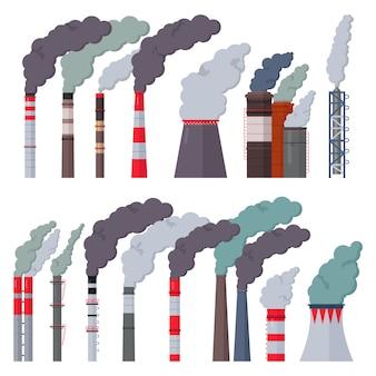 Fábrica de la industria chimenea industrial contaminación con humo en el medio ambiente ilustración conjunto de fábrica de tubos con chimenea con aire tóxico aislado sobre fondo blanco.
