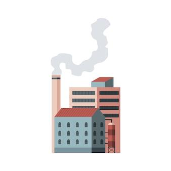 Fábrica industrial. fábrica de refinería de edificio industrial manufactura o central nuclear. complejo de edificios de plantas químicas aislado sobre fondo blanco.