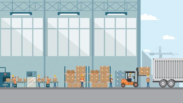 Fábrica industrial inteligente en un estilo plano.