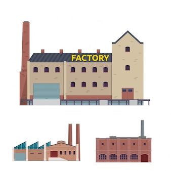 Fábrica industrial moderna y conjunto de ilustración de edificio logístico de almacén