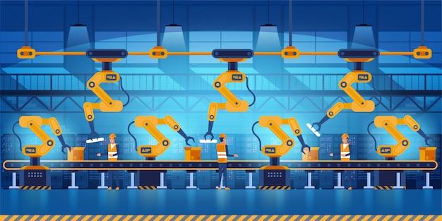Fábrica inteligente eficiente con trabajadores, robots y línea de montaje, industria 4.0 e ilustración del concepto de tecnología