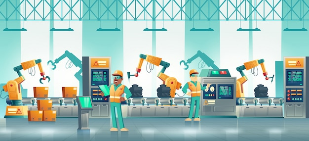 Fábrica moderna de dibujos animados de transportador robotizado.