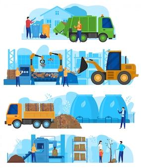 Fábrica de procesamiento de residuos, máquinas de la industria de reciclaje de basura automóviles, camionetas y tractores con trabajadores personas ilustración vectorial