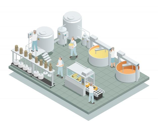 Fábrica de producción de queso composición isométrica