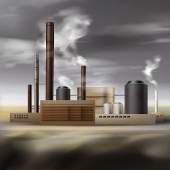 Fábrica de productos químicos de vector con humo de tuberías y clima nublado, concepto de contaminación del aire