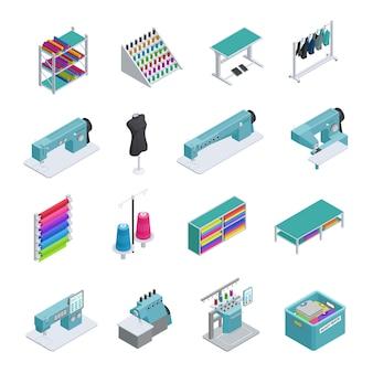Fábrica de ropa de color y aislado. conjunto de iconos isométricos. máquinas de coser. fabricación de prendas.
