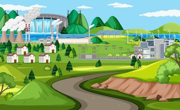 Fábrica y turbina eólica y escena de carretera larga